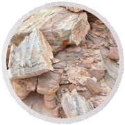 Round Beach Towel featuring the photograph Ornate Sandstone In Valley Of Fire by Ray Mathis