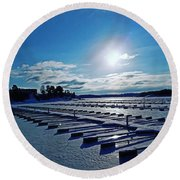 Oslo Fjords In Norway.  Round Beach Towel