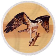 Osprey Round Beach Towel by Ron Haist