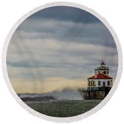 Oswego Harbor West Pierhead Light Round Beach Towel