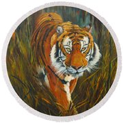 Round Beach Towel featuring the painting Out Of The Woods by Beatrice Cloake