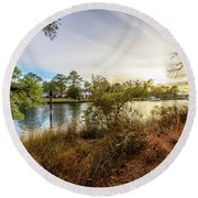 Over The River Round Beach Towel
