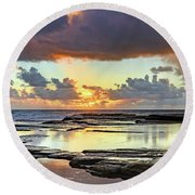 Overcast And Cloudy Sunrise Seascape Round Beach Towel