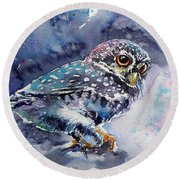 Owl At Night Round Beach Towel by Kovacs Anna Brigitta