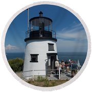 Owls Head Light Round Beach Towel