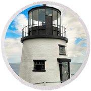 Owl's Head Lighthouse Round Beach Towel