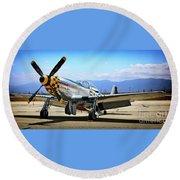 P-51 Mustang Kimberley Kaye Round Beach Towel