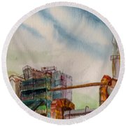 Round Beach Towel featuring the painting Paia Mill 2 by Eric Samuelson