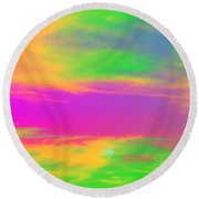 Painted Sky - Abstract Round Beach Towel by Linda Hollis