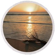Palm Frond Coral Sunrise Delray Beach Florida Round Beach Towel