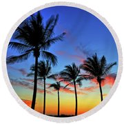 Round Beach Towel featuring the photograph Palm Tree Skies by Scott Mahon