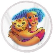 Round Beach Towel featuring the drawing Pals by Angela Treat Lyon