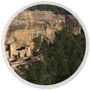 Panoramic View Of Cliff Palace Cliff Round Beach Towel