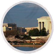 Panoramic View Of Jefferson Memorial Round Beach Towel