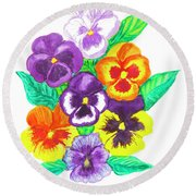 Pansies, Watercolour Painting Round Beach Towel