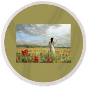 Parasol Girl Round Beach Towel
