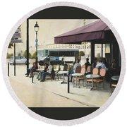 Paris Cafe Round Beach Towel