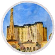 Paris Hotel And Casino Round Beach Towel by Vicki  Housel