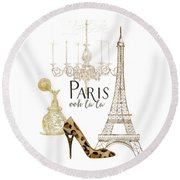 Paris - Ooh La La Fashion Eiffel Tower Chandelier Perfume Bottle Round Beach Towel