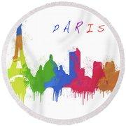 Paris Skyline Round Beach Towel