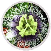 Passion Flower Round Beach Towel by Mary Ellen Frazee