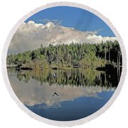 Round Beach Towel featuring the photograph Pause And Reflect by Suzy Piatt