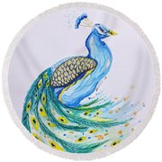 Round Beach Towel featuring the painting Peacock  by Edwin Alverio