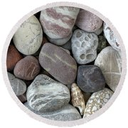 Pebbles In Earth Colors - Stone Pattern Round Beach Towel by Michal Boubin