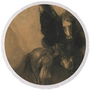 Pegasus And Bellerophon Round Beach Towel by Odilon Redon