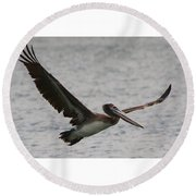 Pelican In Flight Round Beach Towel by Laurel Talabere