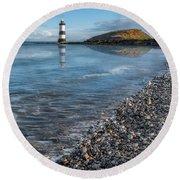 Penmon Point Lighthouse Round Beach Towel