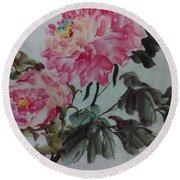 Round Beach Towel featuring the painting Peoney20161229_6 by Dongling Sun
