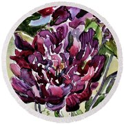 Round Beach Towel featuring the painting Peonies by Mindy Newman