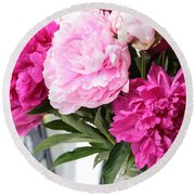 Peonies On The Porch 2 Round Beach Towel