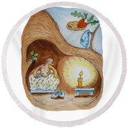 Peter Rabbit And His Dream Round Beach Towel by Irina Sztukowski