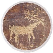 Round Beach Towel featuring the photograph Petroglyph - Fremont Indian by Breck Bartholomew