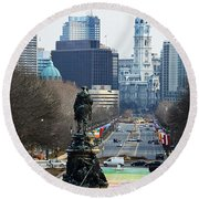 Philadelphia - The Parkway Round Beach Towel by Cindy Manero