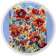 Picket Fence Poppies Round Beach Towel