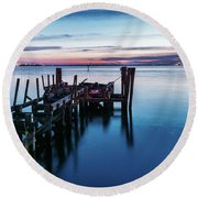 Round Beach Towel featuring the photograph Pier Ruins At Chamberlin by Jerry Gammon