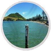 Pilot Bay Beach 1 - Mt Maunganui Tauranga New Zealand Round Beach Towel