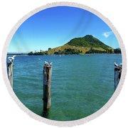 Pilot Bay Beach 3 - Mt Maunganui Tauranga New Zealand Round Beach Towel
