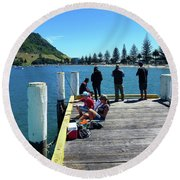 Pilot Bay Beach 7 - Mt Maunganui Tauranga New Zealand Round Beach Towel