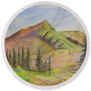 Pines On The Hills Round Beach Towel