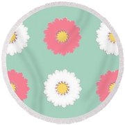 Round Beach Towel featuring the digital art Pink And White by Elizabeth Lock