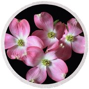 Pink Dogwood Branch Round Beach Towel