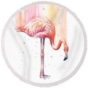 Pink Flamingo - Facing Right Round Beach Towel