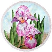 Pink Iris Round Beach Towel