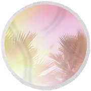 Round Beach Towel featuring the photograph Pink Palms 2 by Cindy Garber Iverson