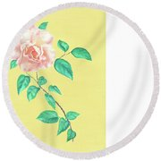 Round Beach Towel featuring the drawing Pink Rose by Elizabeth Lock