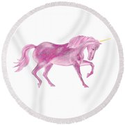 Round Beach Towel featuring the mixed media Pink Unicorn by Elizabeth Lock
